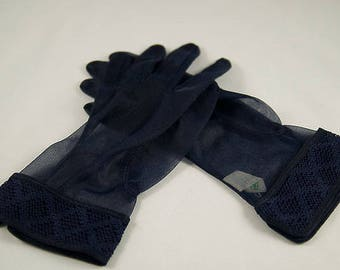 Vintage Ladies Gloves, Sheer Navy, Decorative Wide Band at Wrist, Nylon, Size 6-1/2