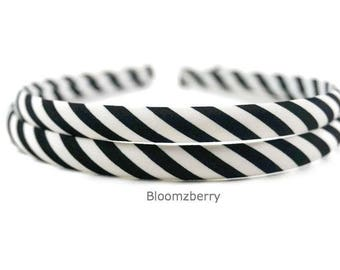 7 mm Stripe Headbands - Toddler/Girl Size - Black/White Color - Girl Headband - Wrap Plastic Headband -Hair Accessories Supplies