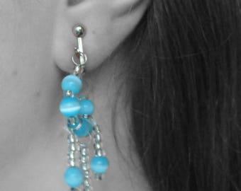 Vintage Blue Beaded Silver Tone Dangling Clip On Earrings