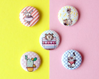 Set of 5 buttons / pin badges