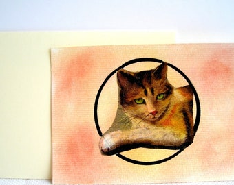 Handmade postcard cat with its envelope. Pastel and collage.