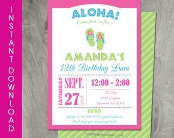 Luau Invitation, Self Editable, INSTANT DOWNLOAD, Diy Party Printable, Hawaiian Luau Invitation, Birthday Baby Shower, Digital PDF File