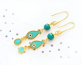 Earrings dangling fish enamel glass bead spun gold turquoise gold