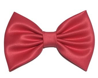 Coral Hair Bow, Satin Hair Bow Clip, Bows For Women, Kawaii Bows, Handmade Bow, Satin Fabric Bow, Lolita, Big Bow, Baby Girl Bow, ST019