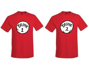 Drunk 1 and Drunk 2 Shirt - Mens T-Shirt. Comfortblend Tee.