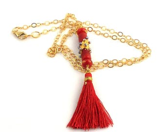 Red and Gold Color Long Lampwork Tassel Necklace, Asian Inspired, Fashion Jewelry, Gifts