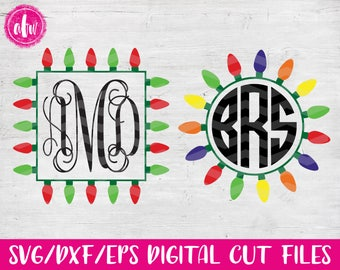 Christmas Lights Monogram Frame Bundle 2, SVG, DXF, EPS, Cut File, Vinyl, Vector, Holiday, Tree, Ornament, Elf, Silhouette, Cricut