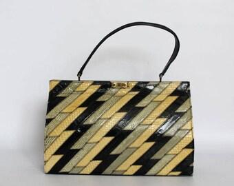 Authentic vintage 1950s handbag,shoulder bag, Kelly bag, Made in England by Eros, real snake skin
