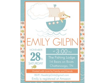 Digital Printable Baby Shower or Birthday Invitation with Nautical Bears and Sail Boat in Blue and Orange CPP014