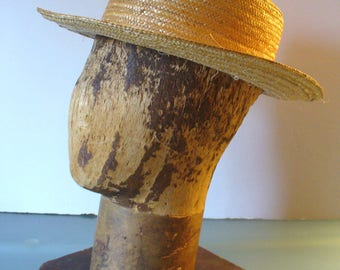Vintage  Straw Boater Hat Made in Italy