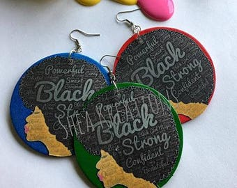 Afro Lady Earrings, Black Girl Magic,Handpainted Team Natural Hair Diva Statement Jewelry, Popular Earrings