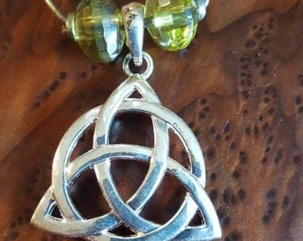 Silver Triquetra on Leather Cord Necklace
