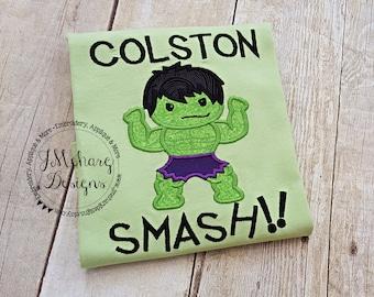 Super Hero Custom embroidered Hulk Inspired Vacation Shirt 708 lime