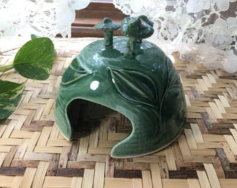 Unique Carved Porcelain Toad House in Forest Green