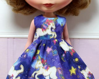BLYTHE doll Its my party dress - Japanese double gauze night unicorns