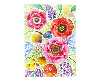 Blooms, flowers, vibrant, watercolor, art print