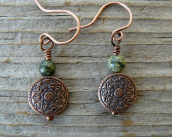 Copper and Green Earrings, Antique Copper and Russian Serpentine, Southwestern Jewelry, Copper Dangles, Gemstone Earrings