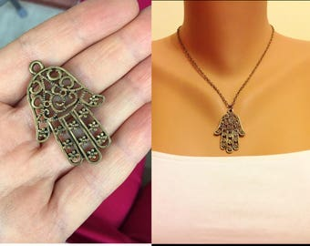 Small Hamsa Hand Necklace Antique Brass Necklace Boho jewelry Brass Jewelry Tiny Hamsa Pendant Protection pendant Sacred symbol,Luck Jewelry