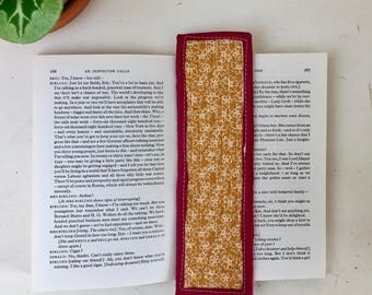 handmade quilted bookmark made with cotton fabric and a cotton binding