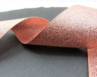 Rose Gold Lame , Sparkly Double Sided Ribbon 40mm Wide Per Metre