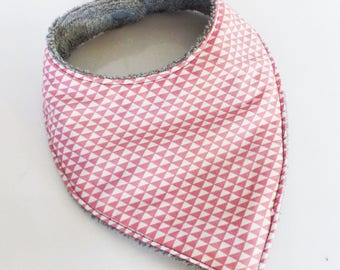 Pink 0/6 month baby BANDANA bib grey triangles and sponge pattern
