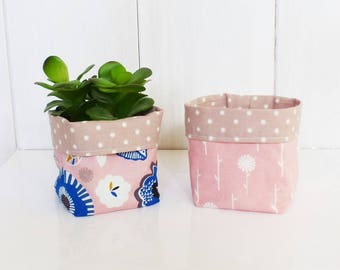 Set of 2 planters-empty-Pocket fabric 9 x 9 cm - fabric flowers pink-blue-mustard-beige with white polka dots