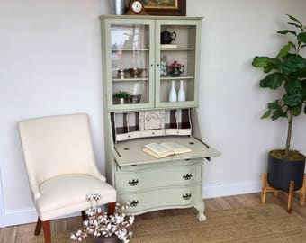 Antique Secretary Desk with Hutch - Home Office Furniture - Compact Desk - Tall Secretary Desk - Drop Front Desk - Home Desk - Antique Desk