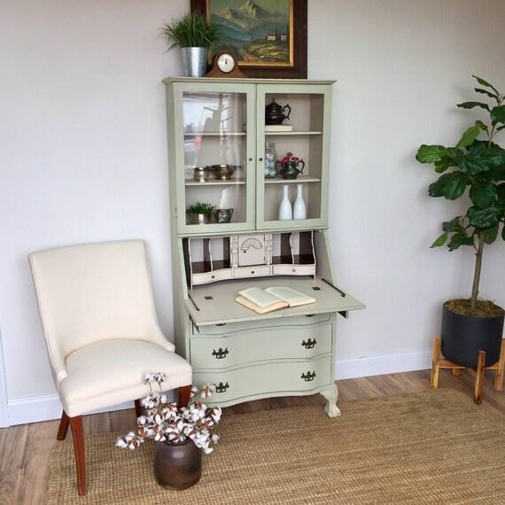 Antique Secretary Desk with Hutch - Home Office Furniture - Compact Desk - Tall Secretary Desk - Drop Front Desk - Home Desk - Antique Desk