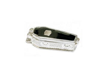 Sterling Silver Opening Enamelled Gothic Coffin Charm For Bracelets