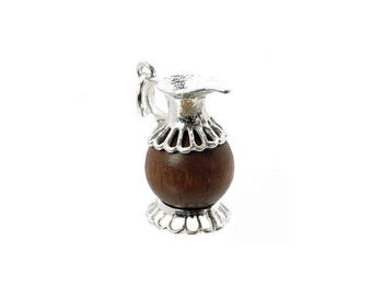 Sterling Silver Lucky Touch Wud Wood Jug/Pitcher Charm For Bracelets