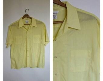 Sale Mr California Mens Shirt Mens Yellow Vintage Shirt Vtg 70s Hipster Shirt Short Sleeve Button Front Shirt M/L