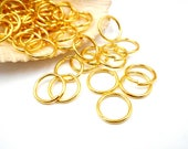 50 Gold Plated Open Jump Rings - 12mm - 8-10A