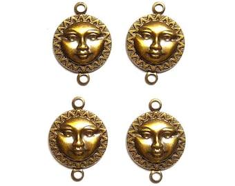 4 Antique Brass Sun Face Connectors - 3-46