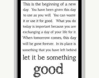 20% OFF SALE Let It Be Something Good Inspirational Motivational Poster Print