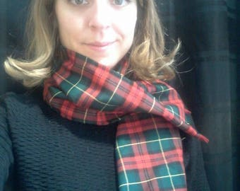 Red and green Plaid cotton scarf