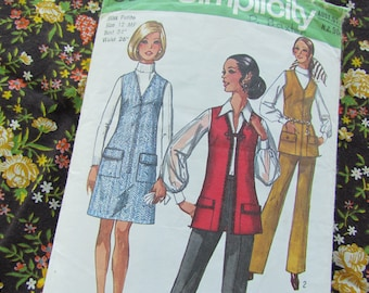 Vintage 1971 Size 34 Inch Pant Suit - Retro Trousers, Vest and Dress Sewing Pattern Simplicity No 8935