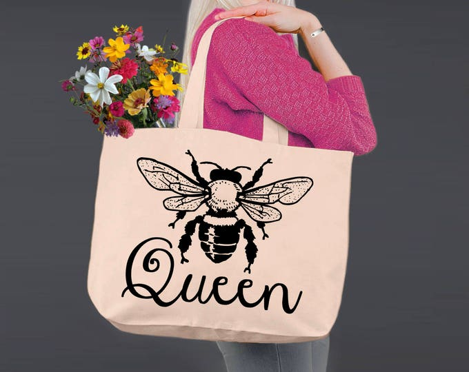 Queen Bee  | Queen | Tote Bag | Canvas Tote Bag | Beach Tote | Canvas Tote | Shopping Tote | Shopping Bag | Korena Loves