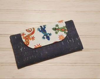 Cork + Cotton Slimline Wallet | navy blue cork | high quality fabrics | lizard