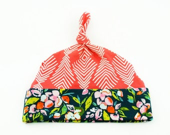 Baby Top Knot Hat (Coral Feather/Sage Floral) ||| baby shower gift, newborn hat, newborn take home outfit, baby jersey hat, knotted hat