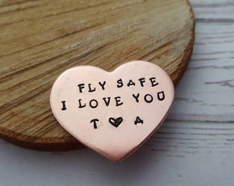 Aviation Gift, Fly Safe, Aviator Pilot, Husband Gift, Bon Voyage Keepsake, Airline Captain, Navy Token, Flight Attendant Gift, Airforce Gift