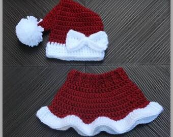 Mrs. Claus' Santa Hat & Skirt Crochet Pattern ... Size: Newborn, 3-6 mo, 6- 12 mo, 12-24 mo ... Photo Prop ... Instant Download