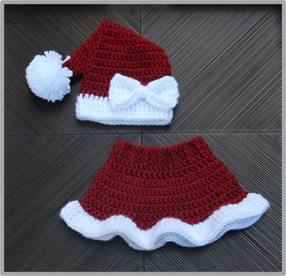 Mrs claus santa hat skirt crochet pattern size