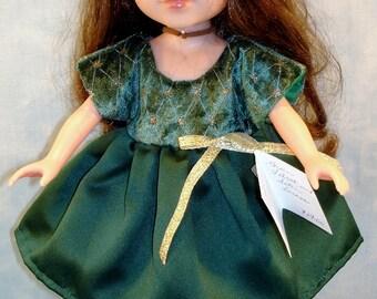 14 Inch Doll Clothes - Dark Green Velvet and Satin Dress handmade by Jane Ellen