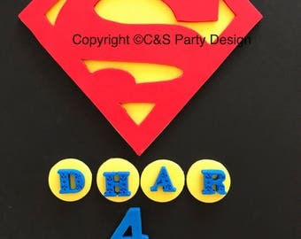 Superhero Superman Inspired and fondant Cake topper