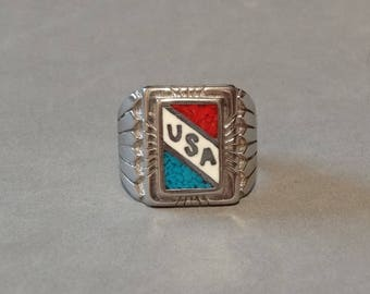 Big Vintage USA Ring Mens Mans Ring Turquoise Coral Sterling Silver Plated Size 9.5 Large HeavyPatriotic Jewelry Makers Marks