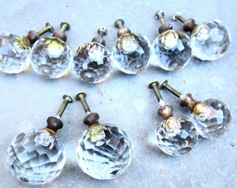drawer pulls 1980s salvaged hardware crystal glass knobs set of 10