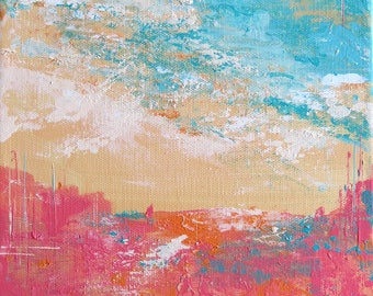 Original Abstract Landscape Acrylic Painting Impressionist Wall Art Surreal 10 x 8 inches Small Canvas pink blue