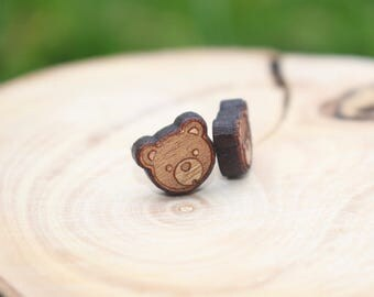 Bear Earrings | Teddy Bear Earrings | Titanium Earrings | Natural Wood Earrings | Cherry Wood Earrings | Hypoallergenic Studs