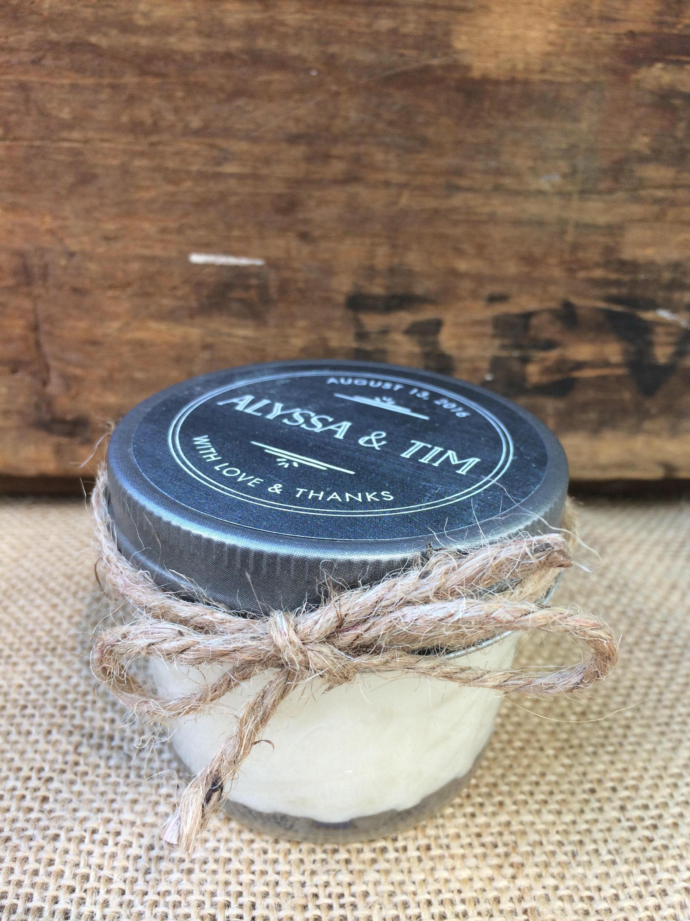 Soy candle wedding favor with pewter lid baby shower favor