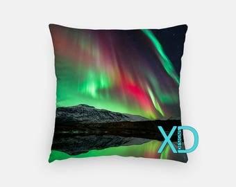 Northern Lights Pillow, Borealis Pillow Cover, Mountain Pillow Case, Green Pillow, Artistic Design, Home Decor, Decorative Pillow Case, Sham
